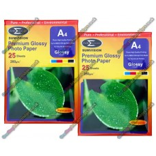 260gsm Gloss A4 Premium Glossy Photo Paper (2 Packs of 25, 50 Sheets) Sumvision